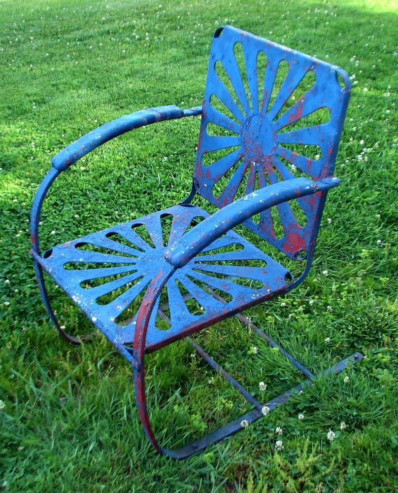 Vintage Shabby Garden Spring Chair Form Metal Lawn