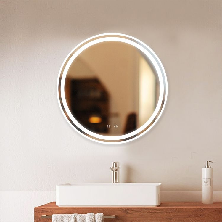 Dp321b Model Led Bathroom Mirror Round Shape Size Dia60cm Smart Touch Light Dimmable Anti Fog 4mm Mirror Thickness Full Enclosed Abs Frame Customized Log