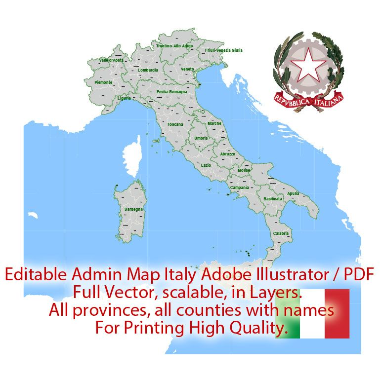Pdf Map Of Italy.Italy Map Administrative Vector 01 Adobe Illustrator