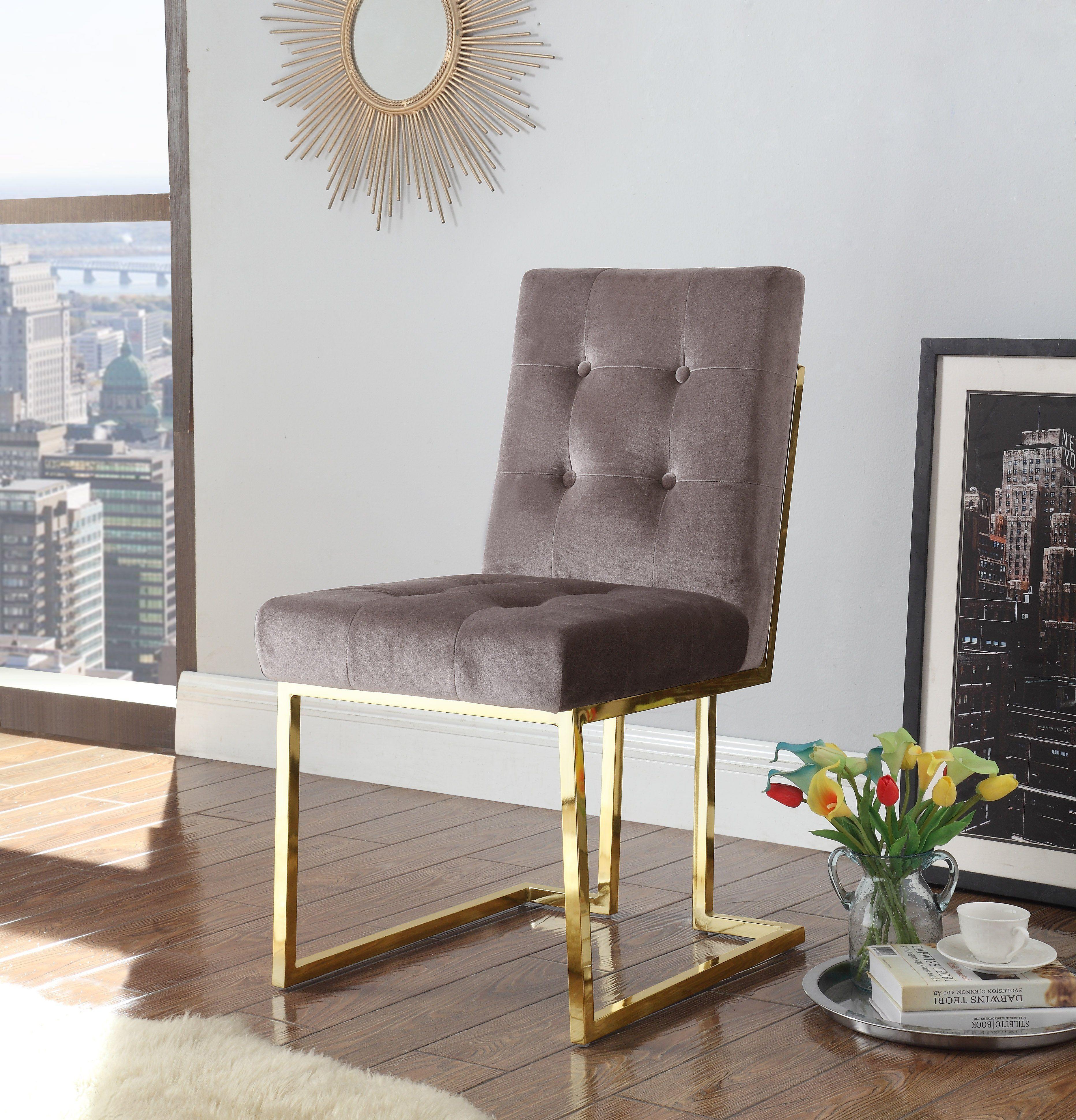 Liam Modern Contemporary Tufted Velvet Polished Brass Metal Frame