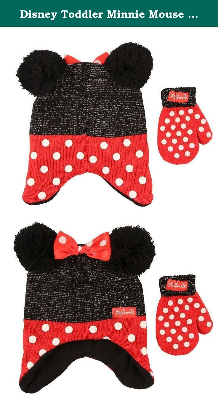 189bcc24b0298 Disney Toddler Minnie Mouse Little Girls Toddler Winter Hat   Mitten Set  Black Red. Baby and toddler girls will love wearing this warm and cozy  Disney ...