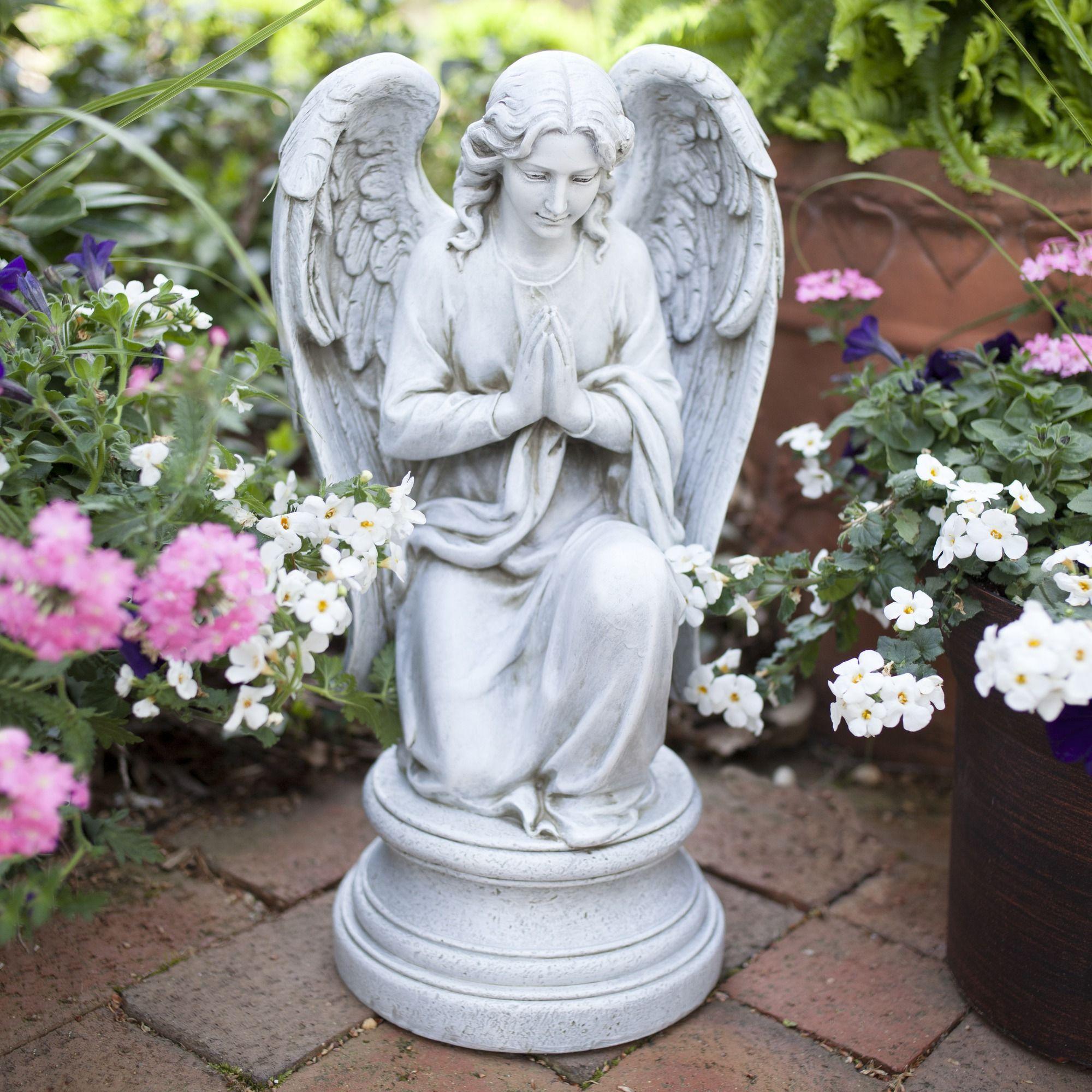 kneeling praying guardian angel outdoor statue guardian angels angel and garden statues. Black Bedroom Furniture Sets. Home Design Ideas