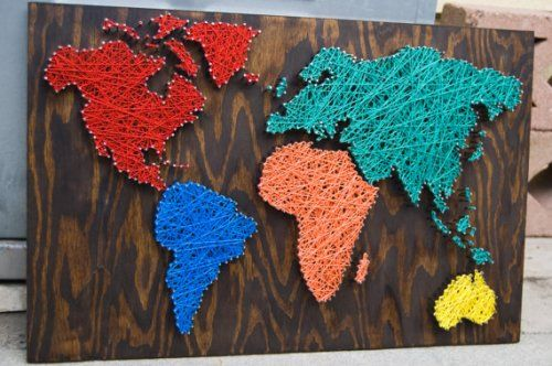 Nail And Thread Map Of The World Multi Media String