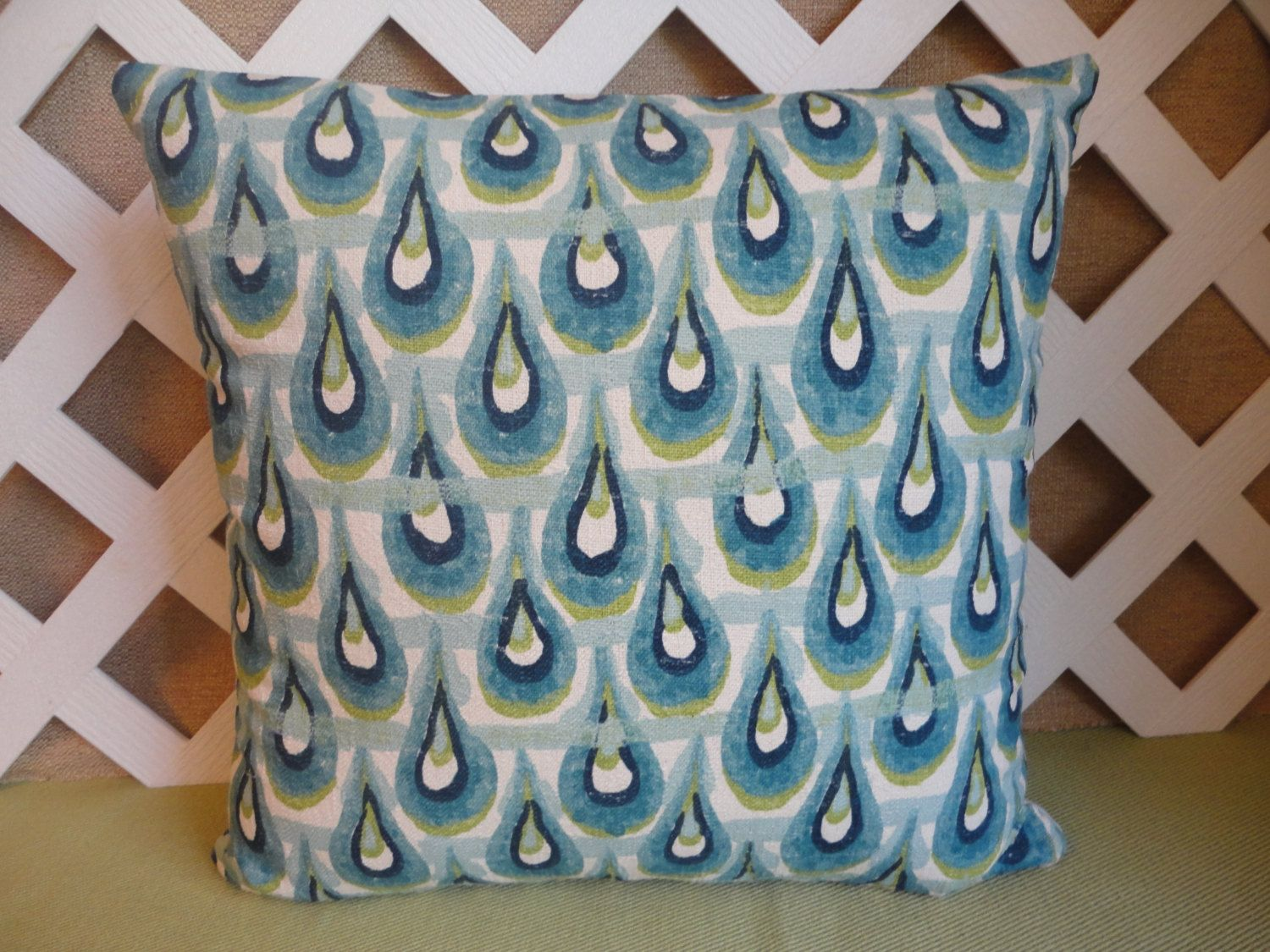 Raindrop Pattern Pillow Cover in Blue Green and White (22.00 USD) by JRsPillowsandBags