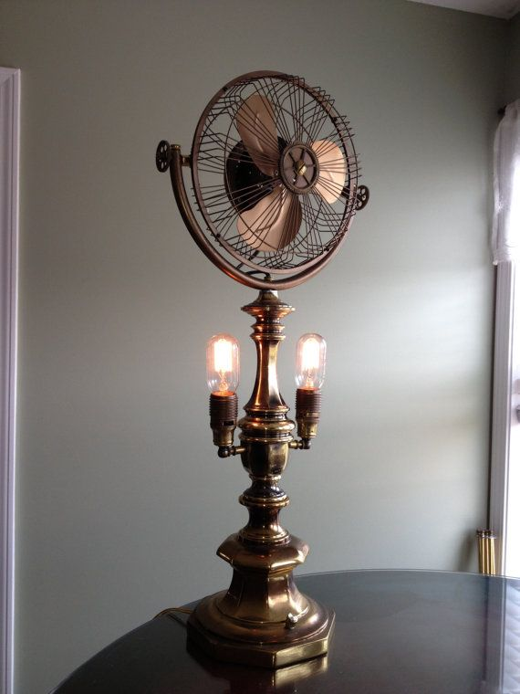 Handmade Steampunk Brass Light Fan Made From Antique