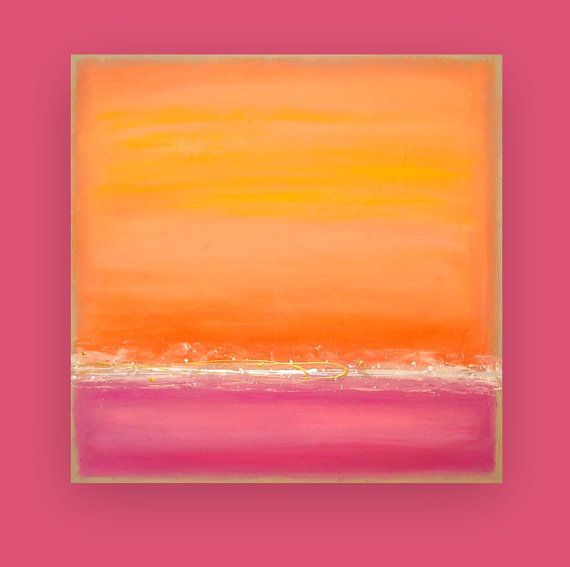 Peach and Pink Acrylic Abstract Art Original by OraBirenbaumArt, $365.00