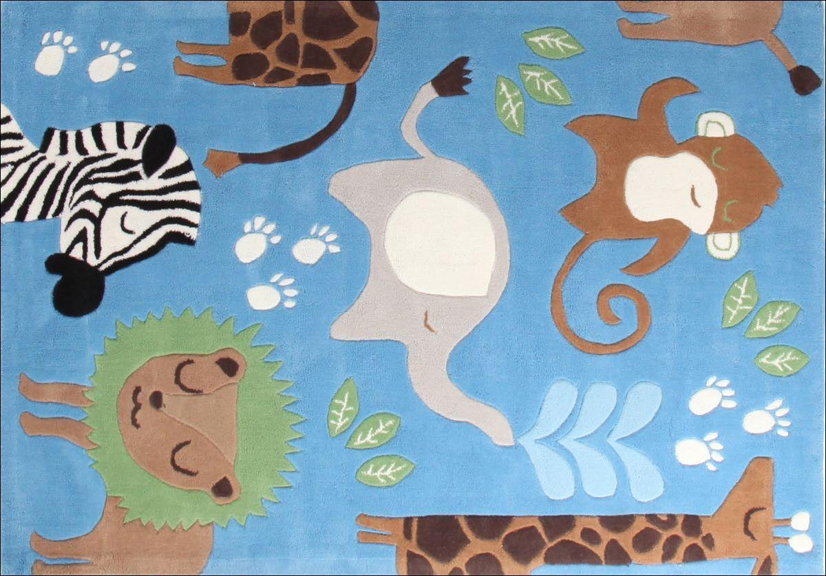 Awesome Kids Jungle Animals Nursery Rug Blue