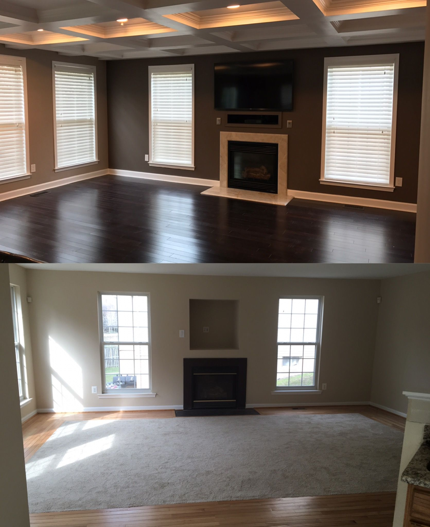Family Room Makeover Dark Hardwood Floors Coffered Ceiling