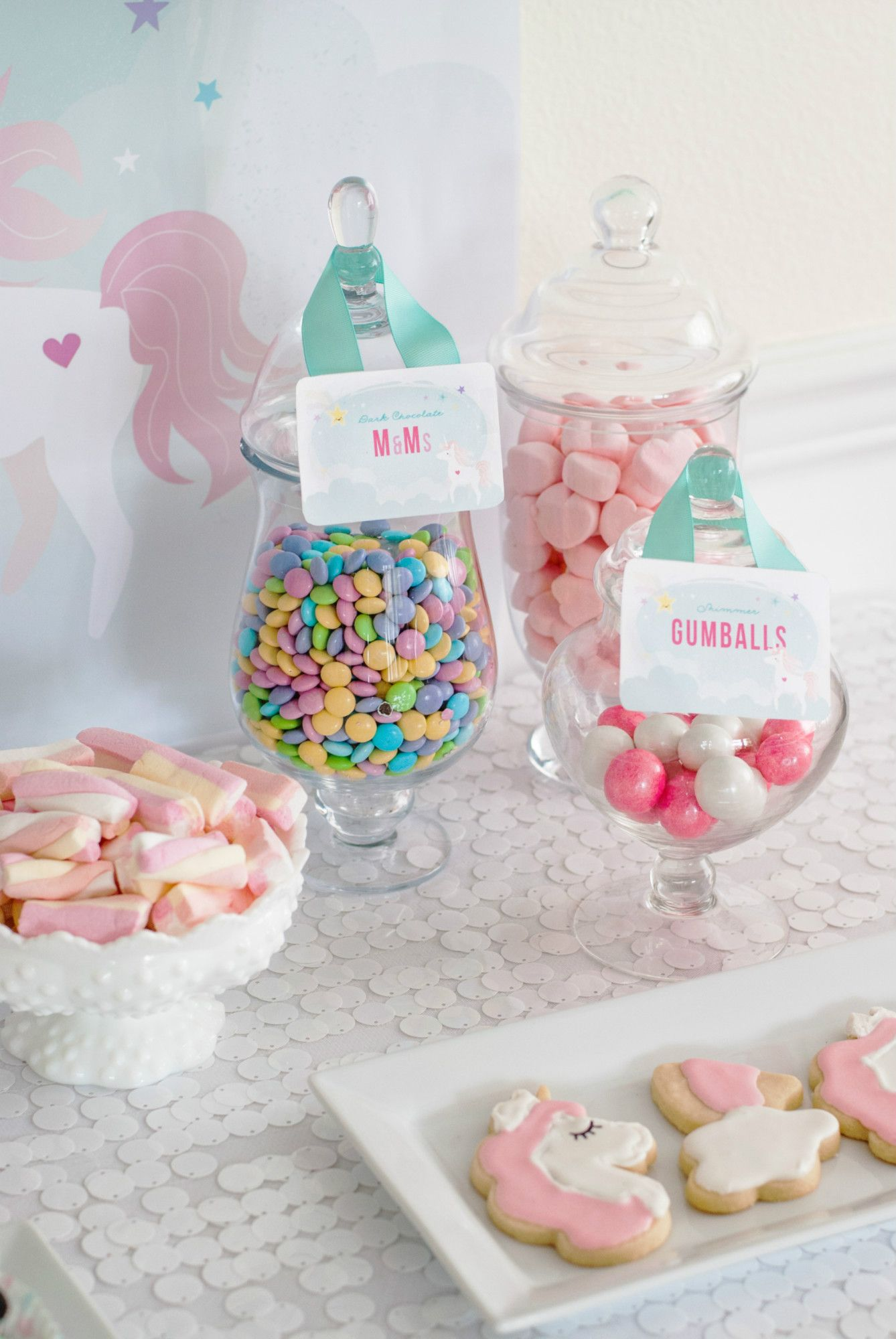 Unicorn Candy Table Ideas : unicorn, candy, table, ideas, Candy, Cookies, Magical, Unicorn, Party, Dessert, Table, Black, Twi…, Birthday, Decorations,, Desserts,, Themed
