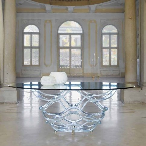 Great Barrique Dining Table By Cassoni | Eurostyle Hydra Dining Table Chrome Base  Round Glass Top Part 8