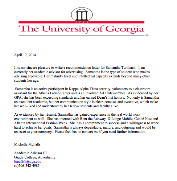 Letter Of Recommendation From Ms Mcfalls Director Of GradyS