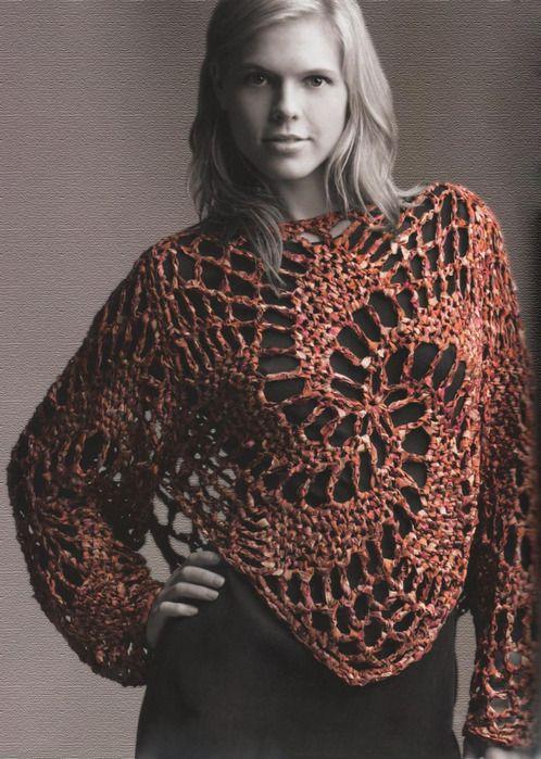 Jersey Punto Flor Espiral Patron - Patrones Crochet | Poncho ...