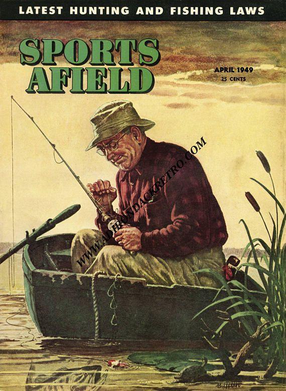 Woodland Fine Art Print Fisherman Gift Vintage Fishing | Vintage ...