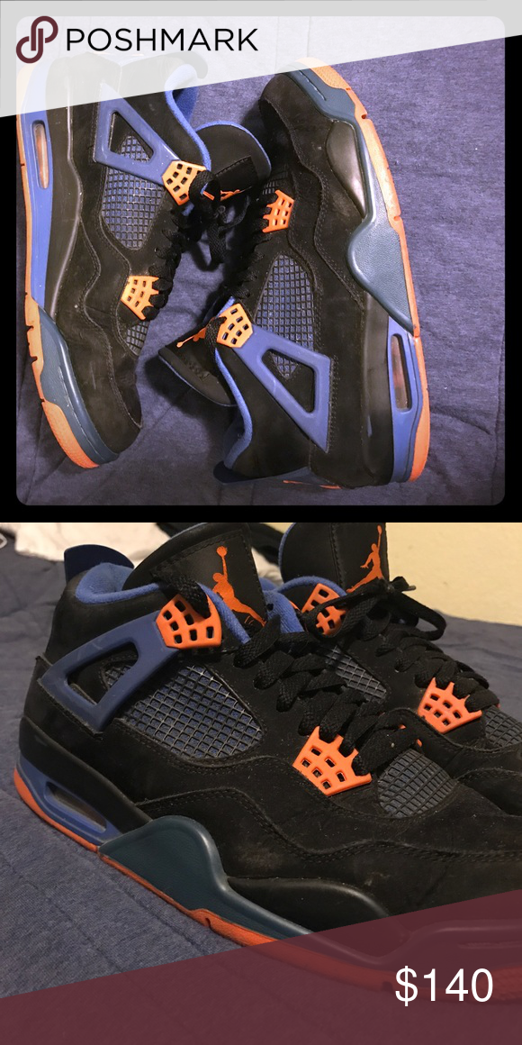 Rare Jordon 4's Blue and Orange These shoes are hella clean. They've been worn for  a few times. If your a sneak head, then you HAVE to have these. These also restore super easy if you mess them up. And before anyone asks, yes they are real, lol I never spent so much time looking up facts on shoes to make sure 😂. Jordan Shoes Sneakers