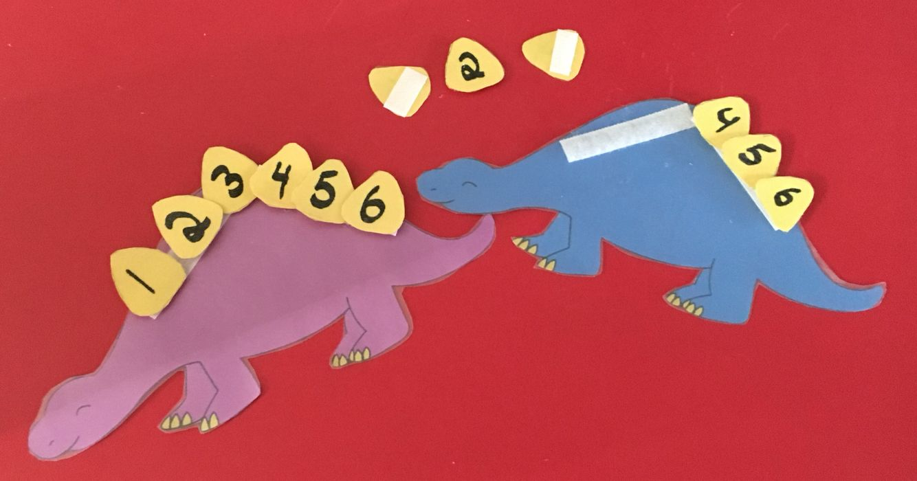 Stegosaurus Scales: the kids put scales on the stegosaurus in correct order. Great for math center!
