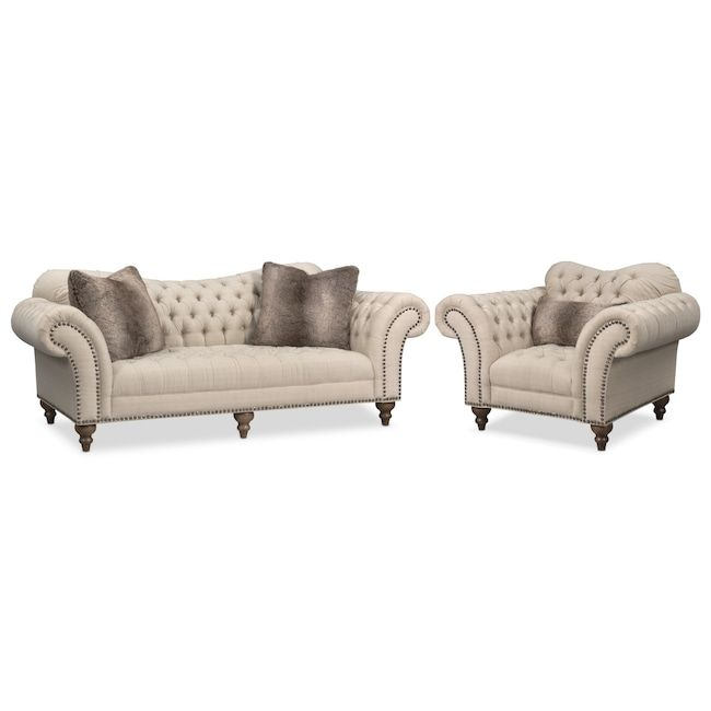 Best Brittney Sofa And Chair Set Linen Value City Furniture 640 x 480