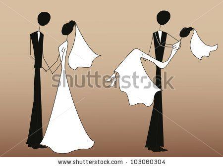 stick figure bride clip art | Bride And Groom, Stick Figures Stock ...