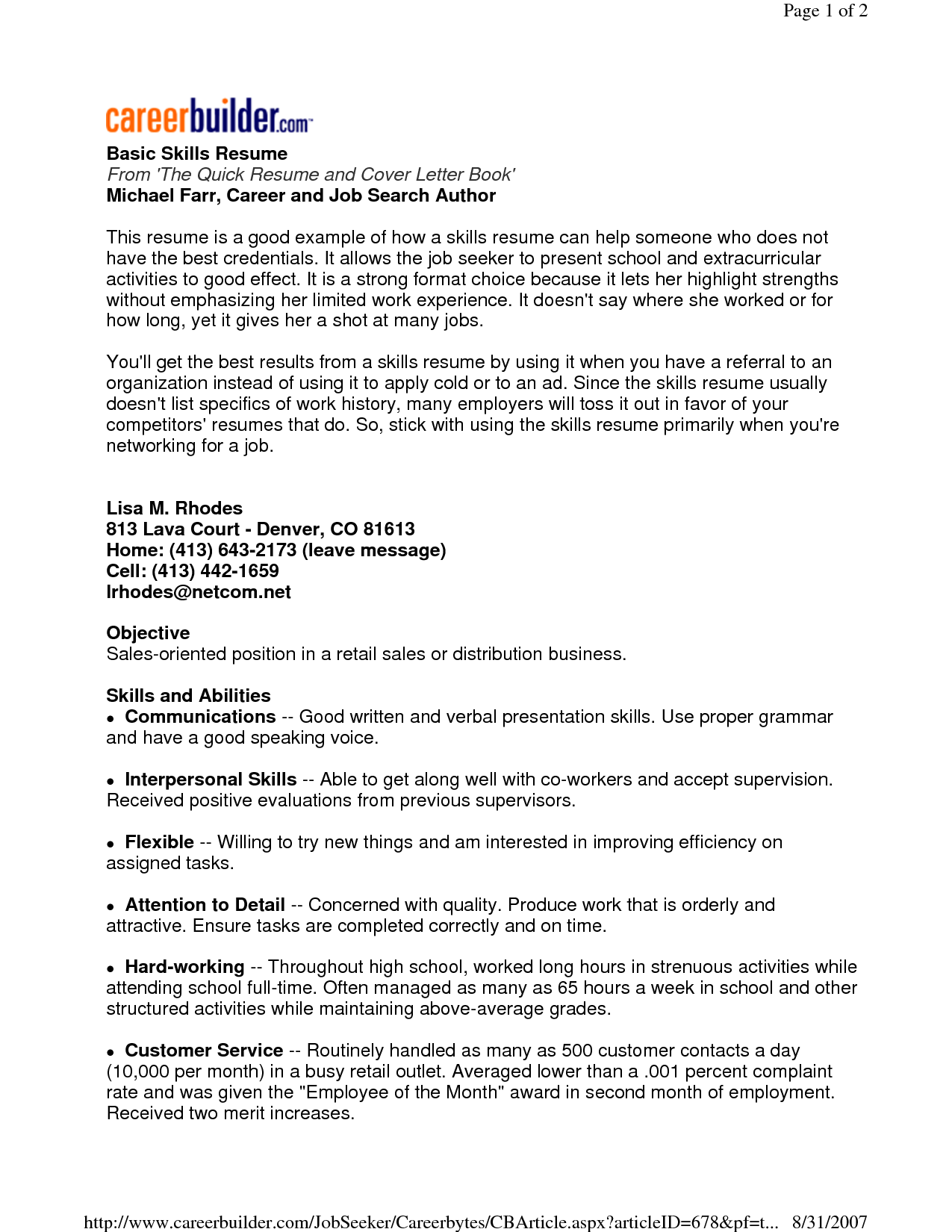 Resume Objective For Sales Basic Resume Examples Skills  Httpwww.resumecareerbasic .