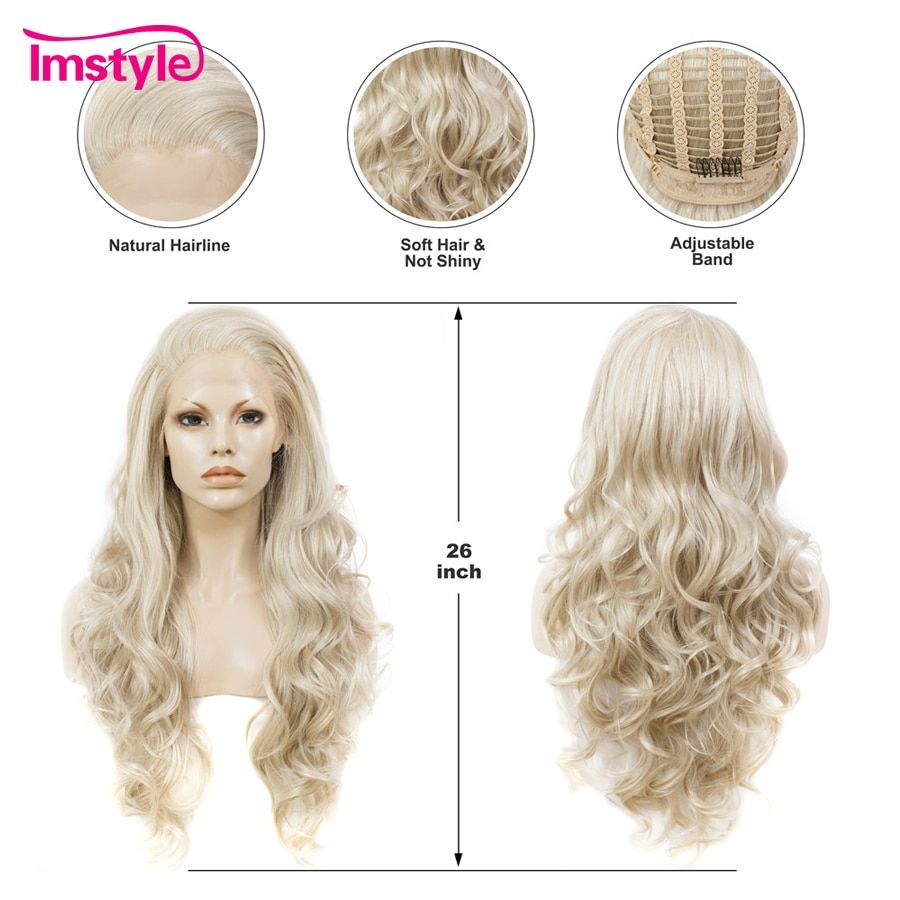 Imstyle Ash Blonde Lace Front Wig Synthetic Hair Long Wavy Wigs For Women Glueless High Temperature Fiber Natural Hair Wigs Wig#Front#Hair #naturalashblonde