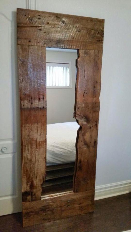 miroir en vieux bois de grange meubles pinterest. Black Bedroom Furniture Sets. Home Design Ideas