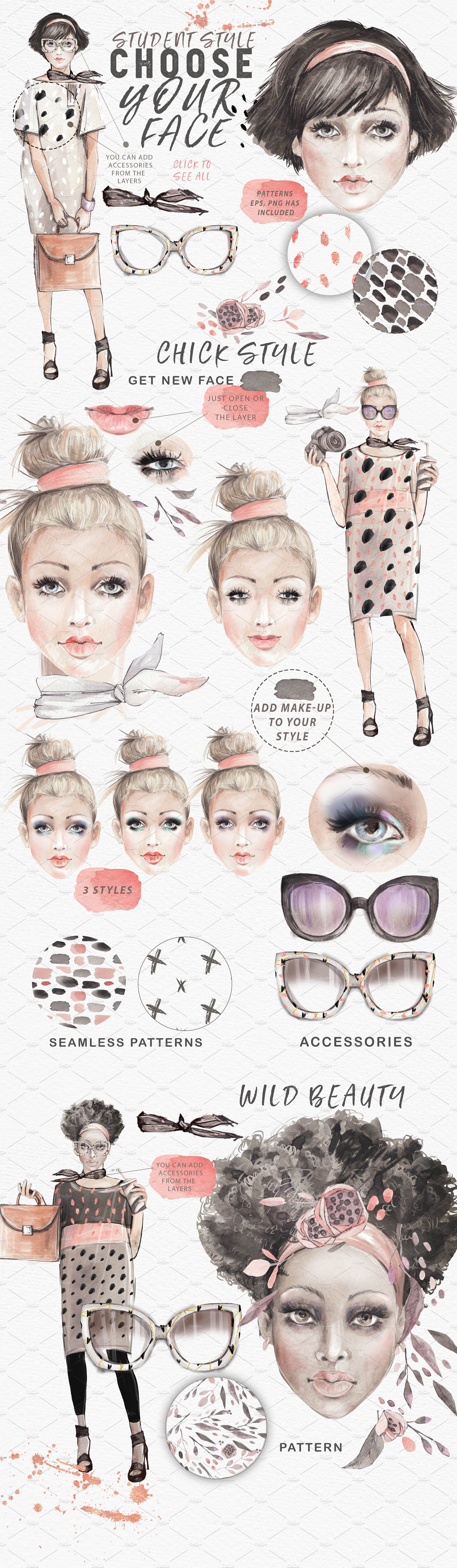 dd7598aae8c FANCY FACES by Mikibith on  creativemarket