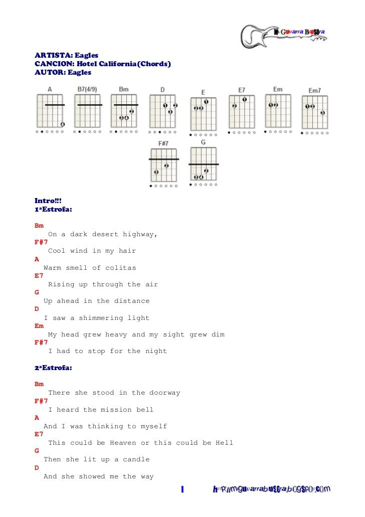 Eagles - Hotel California (Chords) | simple guitar chords ...