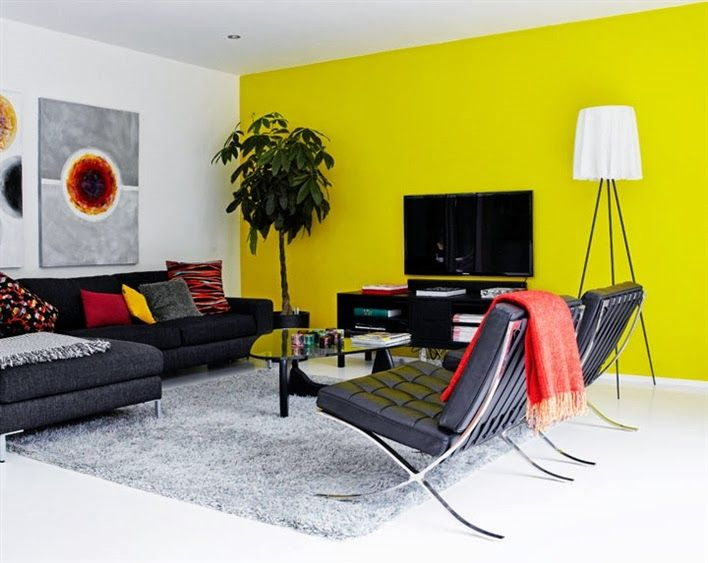 OPEN LIVING WITH DISTINCT COLOR VIEWS - ACCENT WALLS | Yellow accent ...