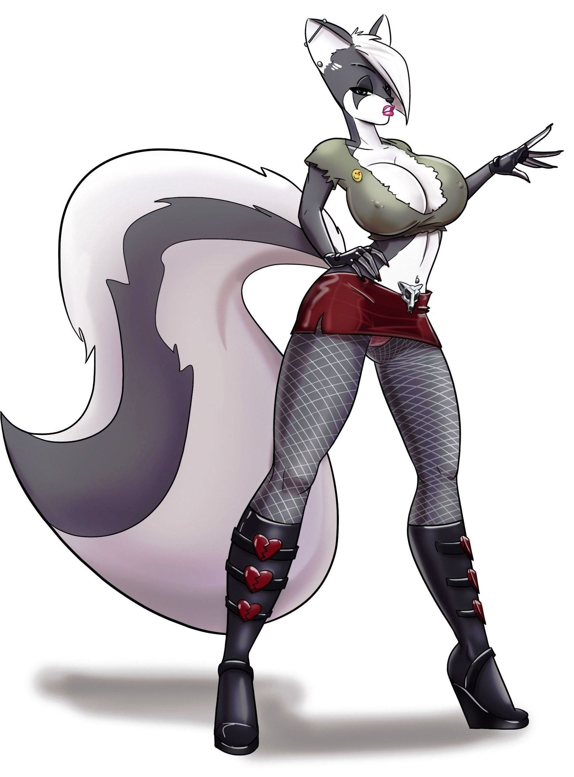 Animated Skirt skunk in green top & red skirt. | anime, cartoon, animation