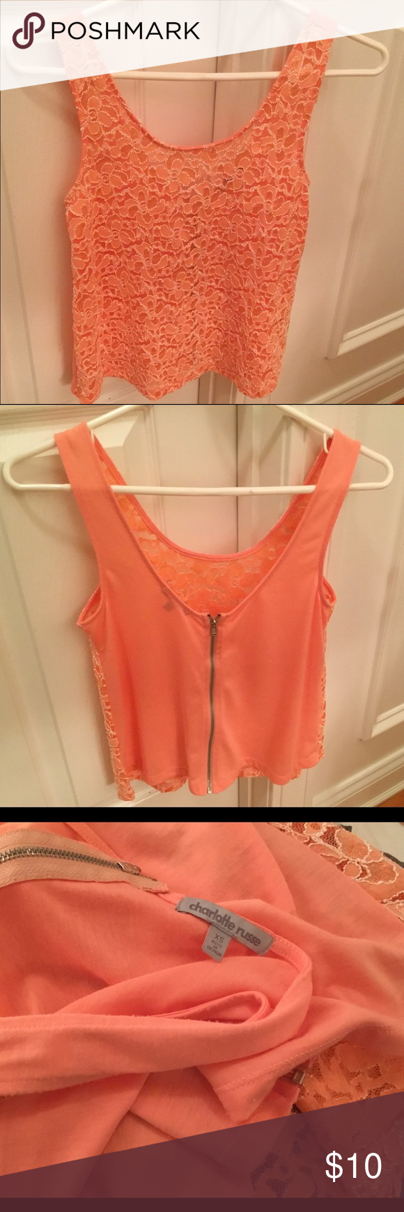 a9497115a310c9 Charlotte Russe Lace Tank Top Charlotte Russe Lace Tank Top Light Coral  orange color Size small Zip back detail Good Condition Charlotte Russe Tops  Tank ...