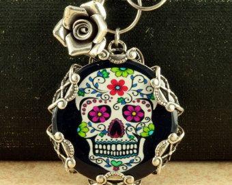 Handmade Day of the Dead Sugar Skull Girl Silver Glass Halloween Locket Necklace