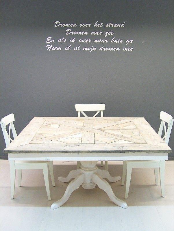 Eetkamer Tafel White Wash.Tafel Maison Mozaiek Vierkant En White Wash Onderstel Vierkante