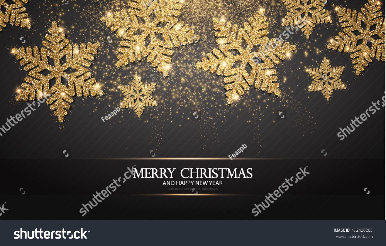 Elegant Christmas Background with Shining Gold Snowflakes