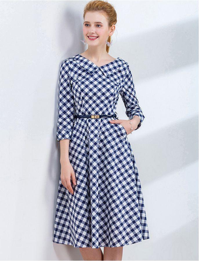 Sonstige Confident Midi Kleid Vintage Damenmode