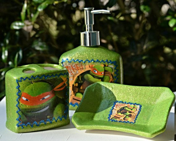 Check Out This Item In My Etsy Shop Https Www Etsy Com Listing 209743310 Bathroom Set Mikey Ninja Tur Turtle Bathroom Ideas Ninja Turtle Bathroom Turtle Room