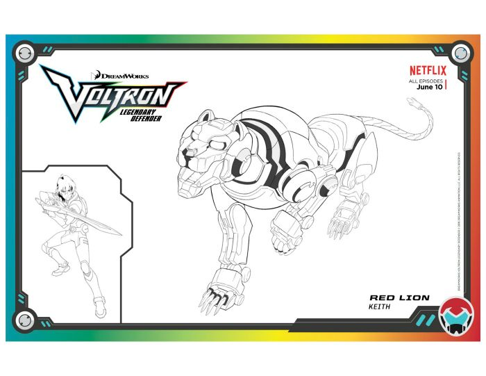 Voltron Legendary Defender Red Lion Coloring Page