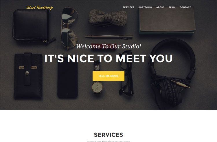 Free Download Agency One Page Bootstrap Portfolio Theme Top Web Designs First Page Free Html Templates