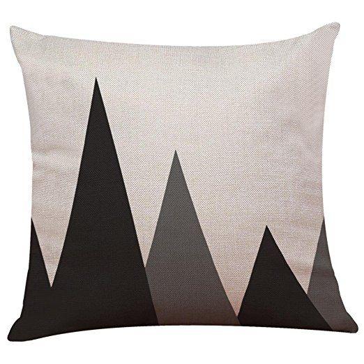 Pillow Case Cotton Linen Cushion Cover Vintage Black White Couch Throw Sofa Home Decor Patio Hidden Zipper Closure G