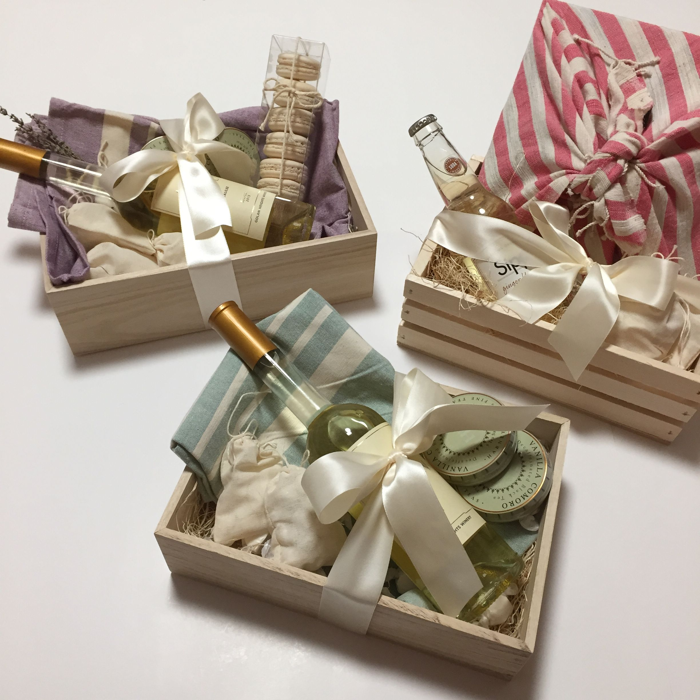 Pretty Gift Boxes With Wine Macarons Tea Lavender And Tea Towels