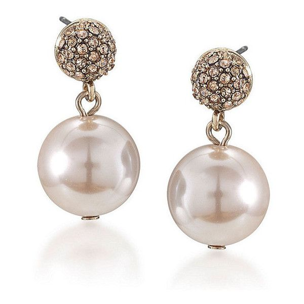 Carolee Slight Blush Pearl Drop Earrings 38 Liked On Polyvore Featuring Jewelry White Jewellery