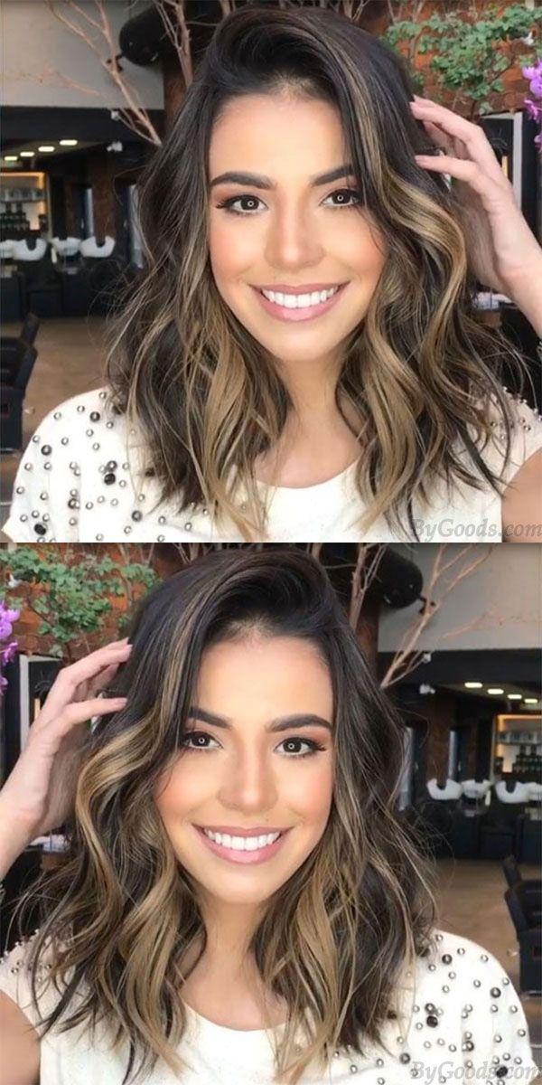 Espectacular peinados con ondas grandes Imagen de cortes de pelo estilo - Unique Curls Big Wave Gradient Brown Partial Shoulder Hair ...