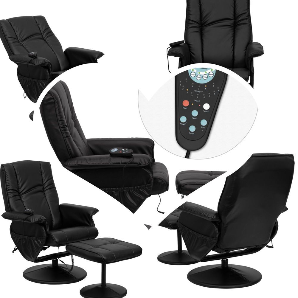 Black leather massage reclining chair and ottoman heated
