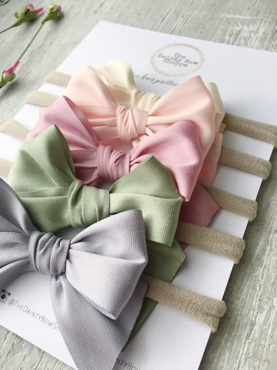 Pastel bows on nylon headbands or clips, Spring bows, Easter bows