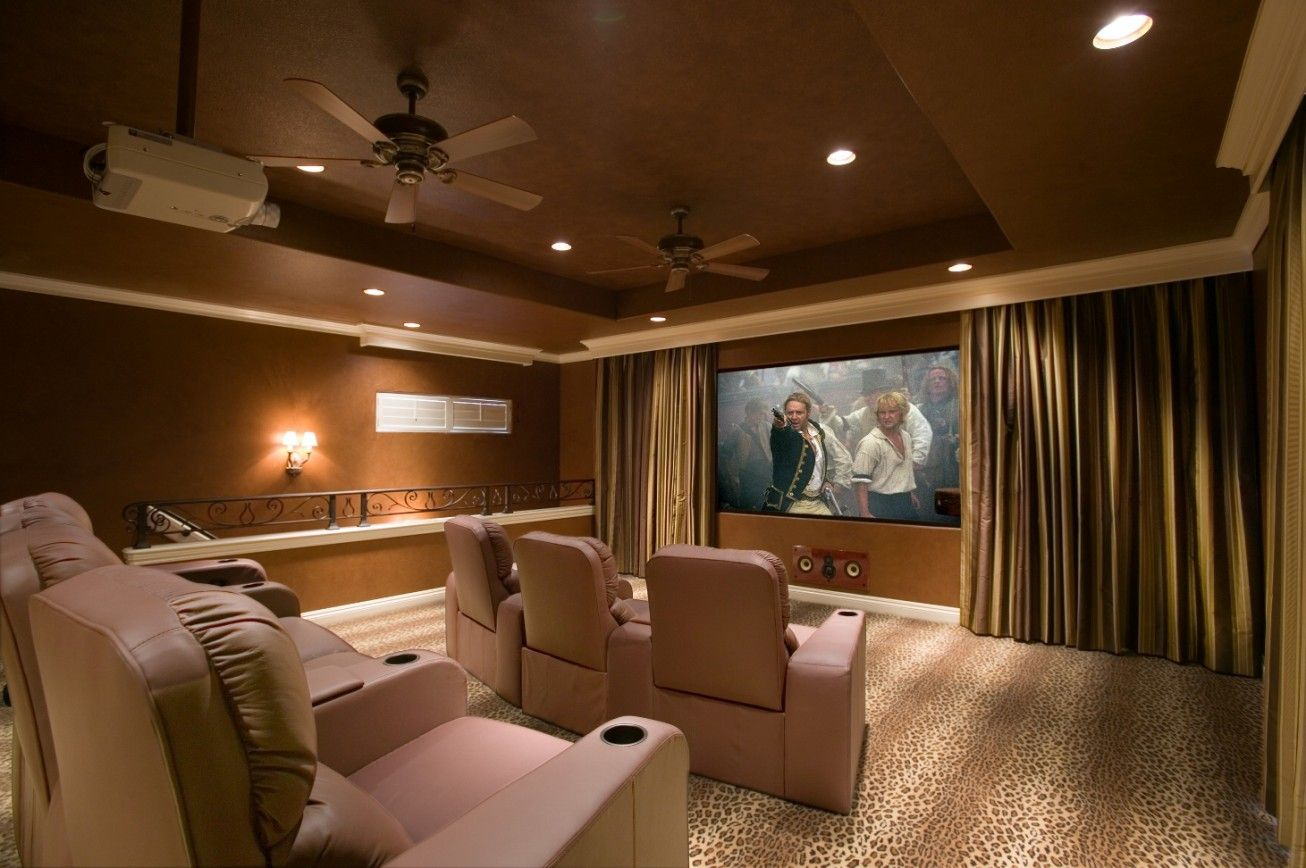 Decorating Ceiling For Home Theater | Home Theater Room Design With Beige  Track Armchairs Wall Lamp Ceiling .