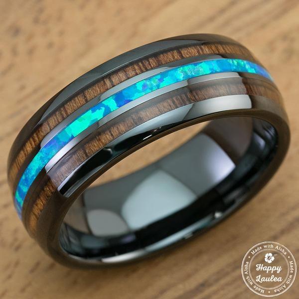 HI TECH Black Ceramic Ring With Blue Opal Amp Hawaiian Koa