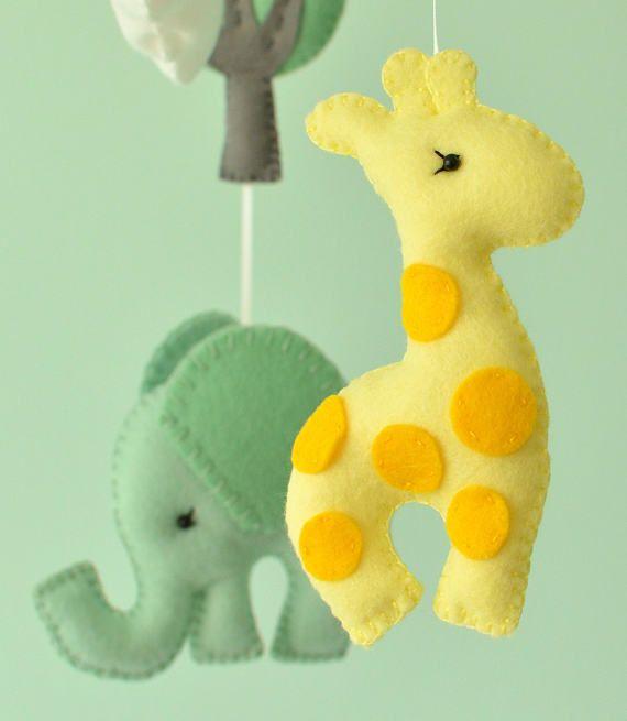 Animal Baby Mobile - Nursery Felt Mobile - Safari Baby Mobile - MADE ...