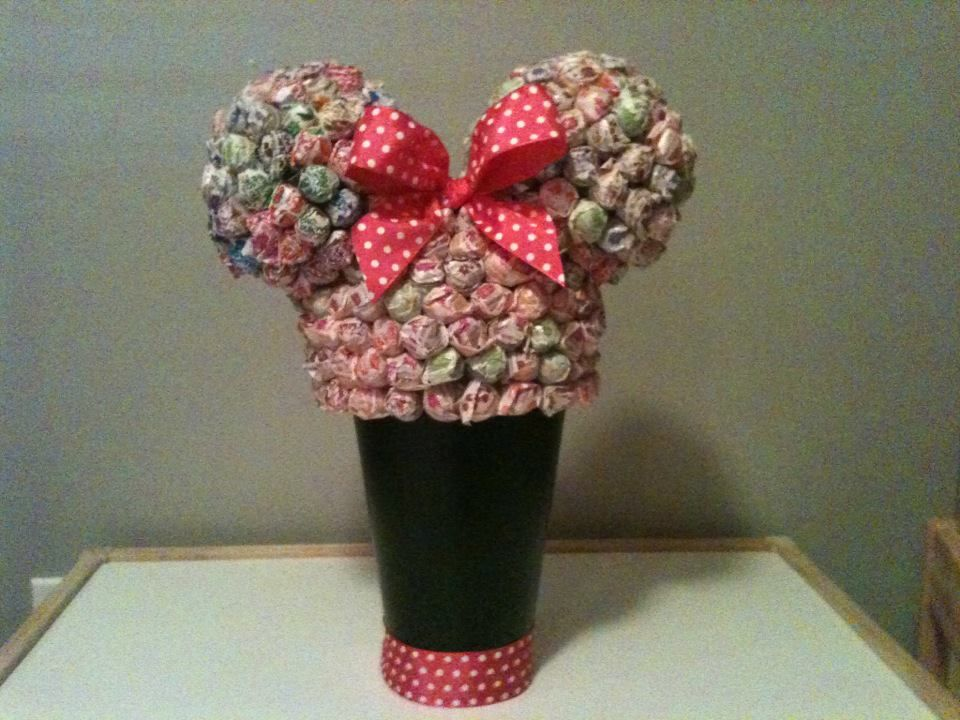 """Minnie Mouse Dum Dum """"Cake""""....minus the cake. 3 styrofoam balls, wire hanger to keep ears on, one plant pot from Ikea..."""