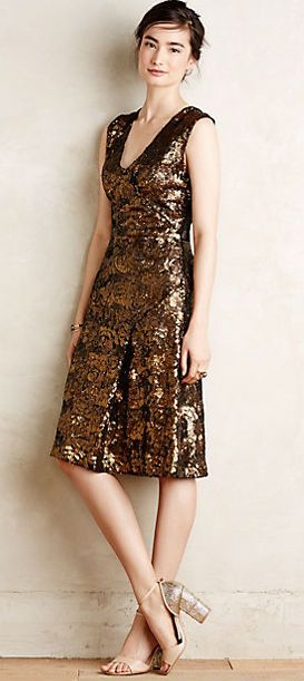 Simply gorgeous gold sequin dress - a great wedding guest dress for a semi-formal  wedding near the holidays 700520b59
