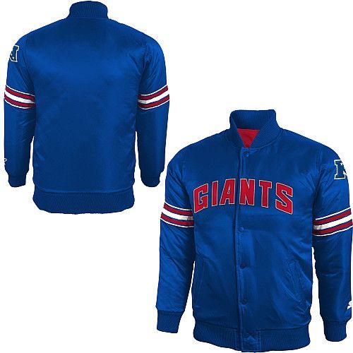 big sale 65752 219da STARTER Youth New York Giants Team Color Varsity Snap Satin ...