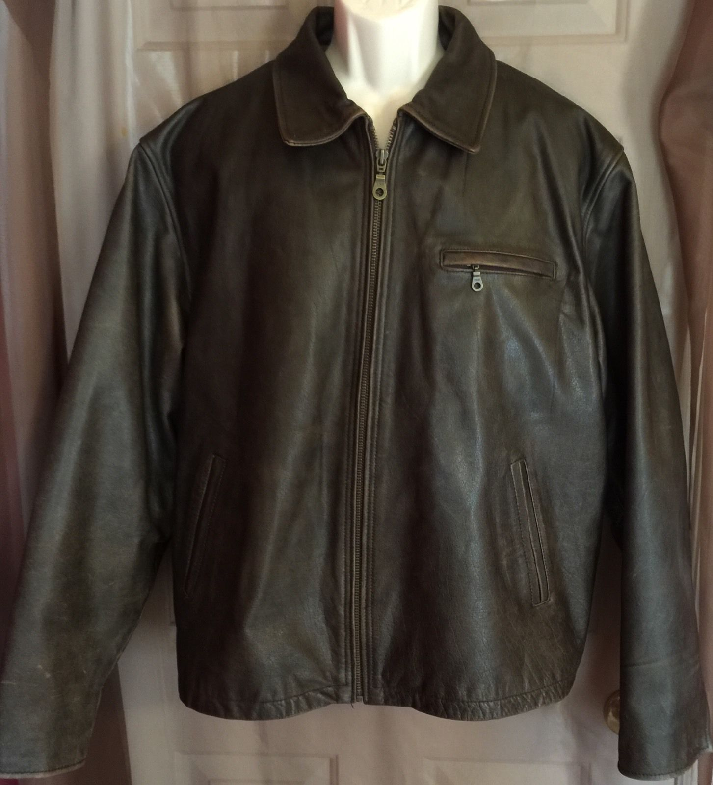 M Julian Wilsons Leather Brown Bomber Biker Jacket Men's
