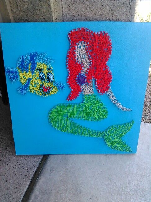 Flounder and ariel the little mermaid string art by for Mermaid arts and crafts